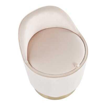 Mutlu Contemporary/glam Vanity Stool In Gold Steel And Cream Velvet By Everly Quinn - Wayfair