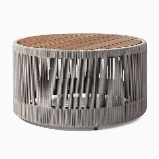 Porto Round Coffee Table, Driftwood, Warm Cement - West Elm