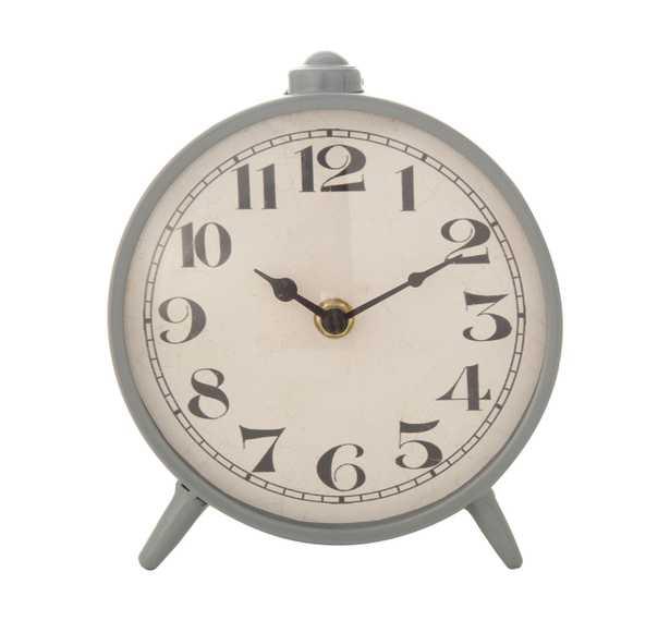 Round Grey Metal Mantel Clock - Nomad Home