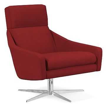 Austin Swivel Base Chair, Poly, Twill, Red Dahlia, Polished Nickel - West Elm