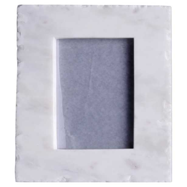 Carlyn Modern Classic White Marble Photo Frame - 4x6 - Kathy Kuo Home