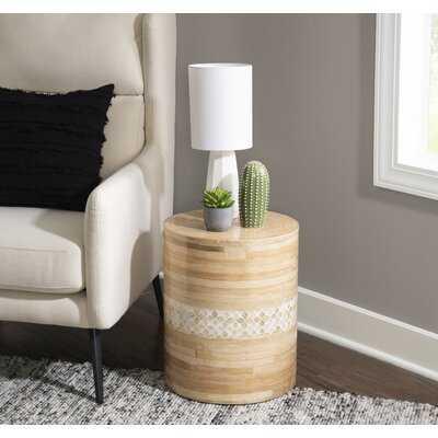 Bamboo Drum Table With Aarju Inlay - Wayfair