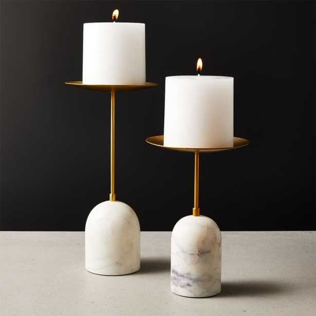 Numa Marble and Brass Candle Stands Set of 2 - CB2