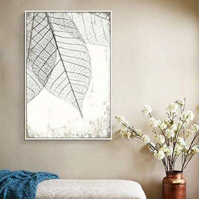 IDEA4WALL Framed Canvas Wall Art For Living Room, Bedroom Translucent Leaves III Canvas Prints For Home Decoration Ready To Hang - 24X36 Inches - Wayfair