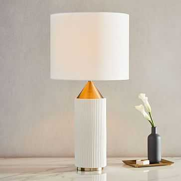 Modern Fluted Table Lamp, Large, White + Brass, Individual - West Elm