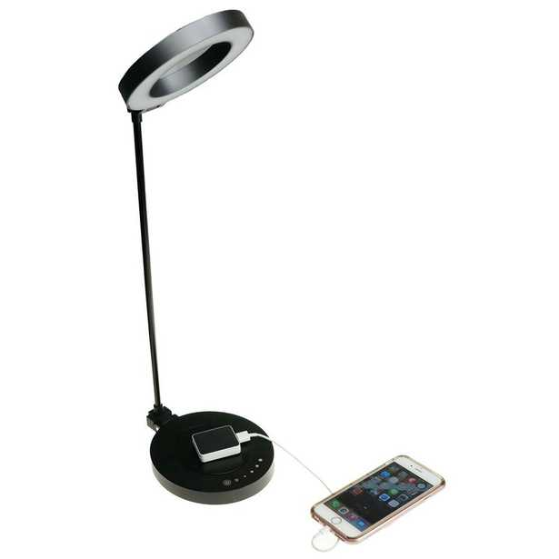 """NTW AirEnergy 20 in. LED Touch Dimmer Black Desk Lamp with Qi Certified Wireless Charging Base & """"SmartCube"""" Qi Adapter - Home Depot"""