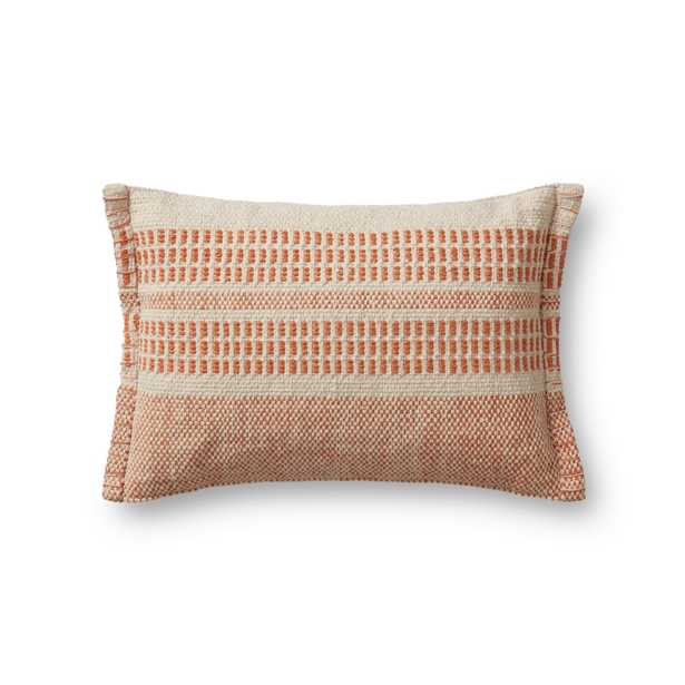 """PILLOWS P1173 NATURAL / RUST 13"""" x 21"""" Cover w/Poly - Magnolia Home by Joana Gaines Crafted by Loloi Rugs"""
