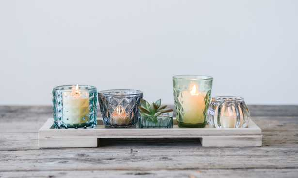 Glass Votive/Tealight Holders on Wood Tray (Set of 5 Pieces) - Nomad Home