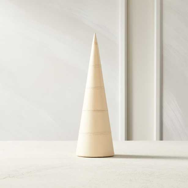 Stitched Leather Ivory Small Tree - CB2