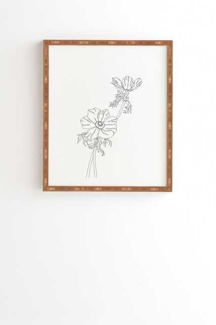 """Botanical Illustration Joan by The Colour Study - Framed Wall Art Bamboo 14"""" x 16.5"""" - Wander Print Co."""