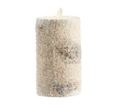 "Premium Flicker Flameless Wax Candle, Sugared Birch, 3x6"" - Pottery Barn"