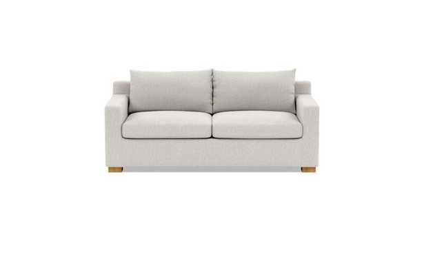 Sloan Sleeper Sleeper Sofa with Beige Pebble Fabric, standard down blend cushions, and Natural Oak legs - Interior Define