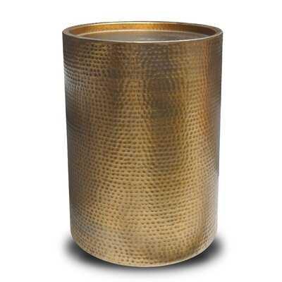 Sigurd Hammered Drum End Table , Brass Antq Aluminium - Wayfair