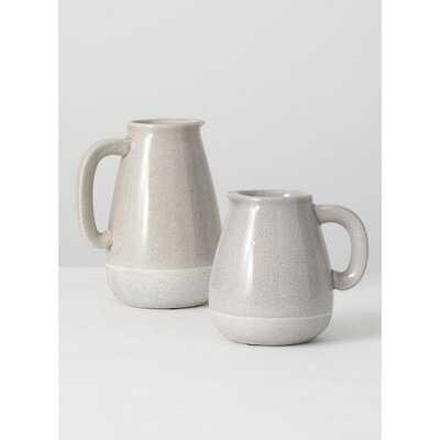 2 Piece Byrnes Gray Ceramic Table Vase Set - Wayfair