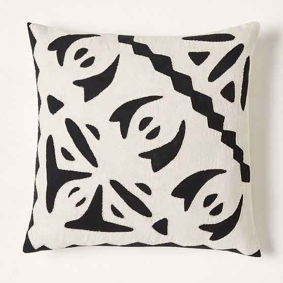"""Barcela Reverse Applique Pillow Cover, 20""""x20"""", Black Stone, Set of 2 - West Elm"""