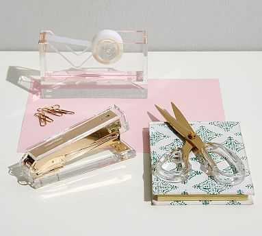 Acrylic Desktop Accessories - Everyday Set, Gold - Pottery Barn