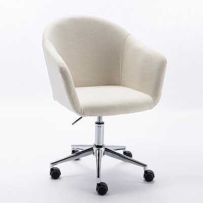 Modern  Home Office Desk Task Chair  Mid-Back Home Computer Chair  Adjustable Swivel Chair In Linen Fabric ,Chrome Base With Wheels - Wayfair