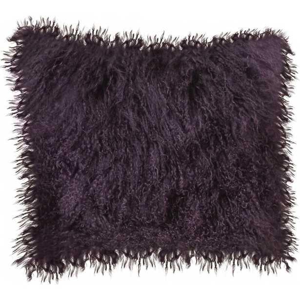 Lamb Fur Wool Throw Pillow Color: Purple - Perigold