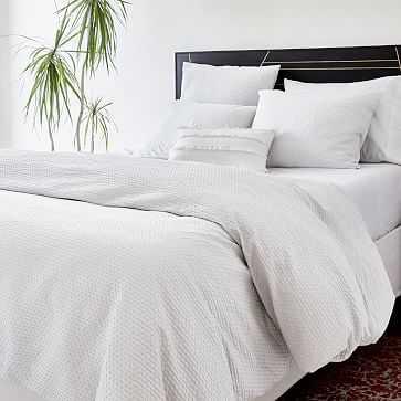 Organic Cotton Diamond Crinkle Duvet, King, White - West Elm