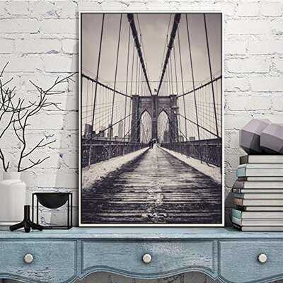 """IDEA4WALL Framed Canvas Wall Art For Living Room, Bedroom Brooklyn Bridge And New York City Canvas Prints For Modern Home Decoration Ready To Hang - 24""""X36"""" Inches - Wayfair"""