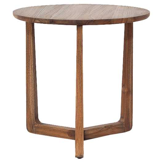Laura Modern Classic Brown Teak Wood Round Side End Table - Kathy Kuo Home