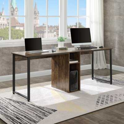 Home Office 2-Person Desk, Large Double Workstation Desk, Writing Desk With Storage(White) - Wayfair