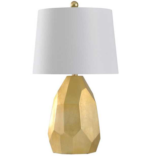 StyleCraft 25 in. Gold/Distressed Silver/Faux Cracks Table Lamp with Geneva White Hardback Fabric Shade - Home Depot