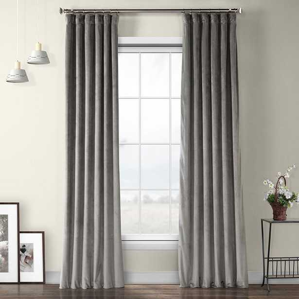 Exclusive Fabrics & Furnishings Destiny Gray Plush Velvet Polyester Room Darkening Curtain - 50 in. W x 120 in. L - Home Depot