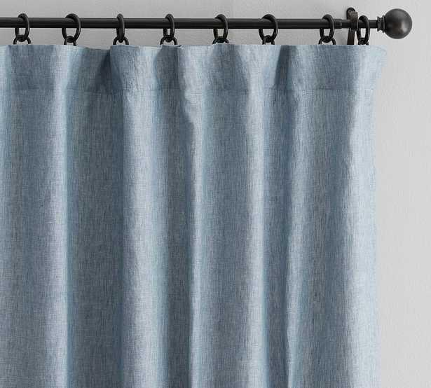 "Custom Classic Belgian Flax Linen Rod Pocket Blackout Curtain, Blue Chambray, 48 x 95"" - Pottery Barn"