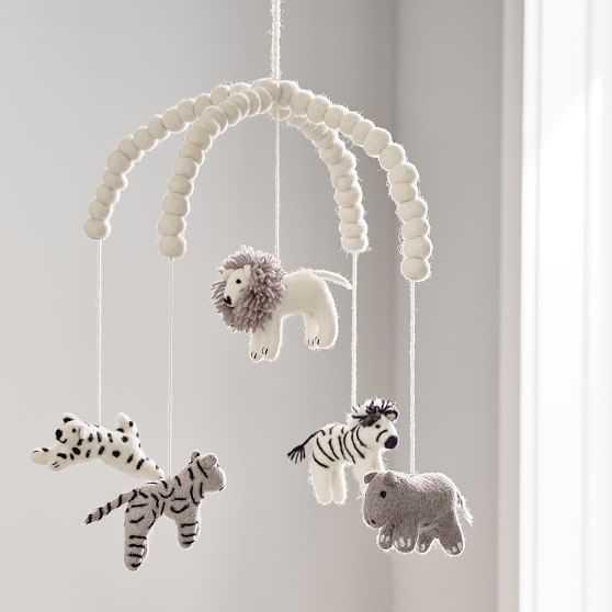 Safari Animal Felt Mobile, Black & White - West Elm