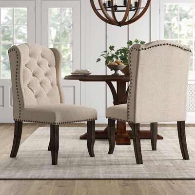 Calila Tufted Upholstered Wingback Side Chair in Beige (Set of 2) - Birch Lane