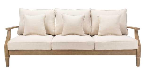Martinique Wood Patio Sofa - Natural/White - Arlo Home - Arlo Home