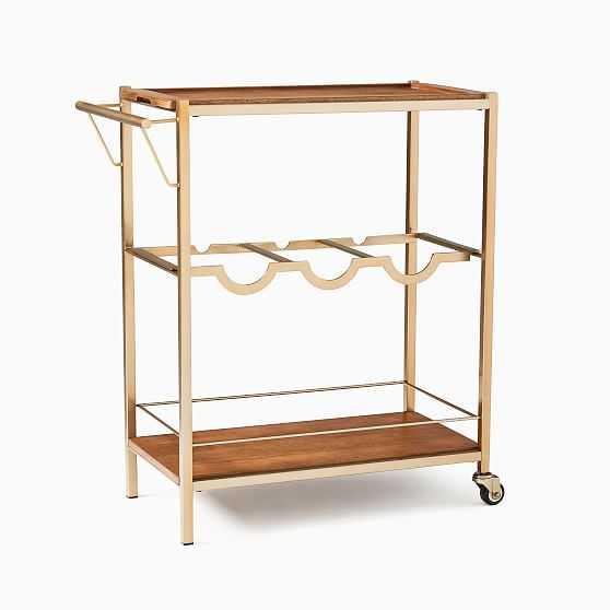 Judd Rectangle Bar Cart , Rectangle Bar Cool Walnut, Light Bronze - West Elm