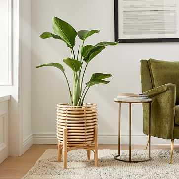 "Adobe Planter, 19.5""in H, Natural, Rattan - West Elm"