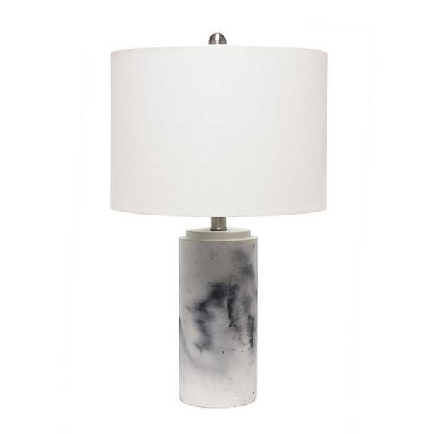 Lalia Home 24.25 inch Marbleized Table Lamp with White Fabric Shade - Home Depot