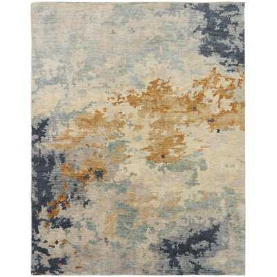 Chadlee Abstract Hand-Knotted Wool Blue Area Rug - Wayfair