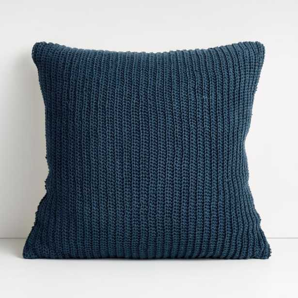 """Croft 20"""" Insignia Blue Crochet Pillow with Feather-Down Insert - Crate and Barrel"""