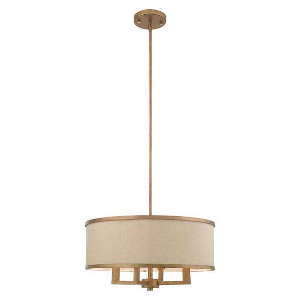 Livex Lighting Park 4-Light Antique Gold Leaf Chandelier with Hand Crafted Ash-Gray Linen Fabric Hardback Shade - Home Depot