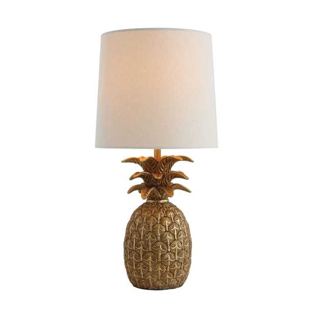 Resin Pineapple Shaped Table Lamp & Linen Shade, Distressed Finish - Nomad Home