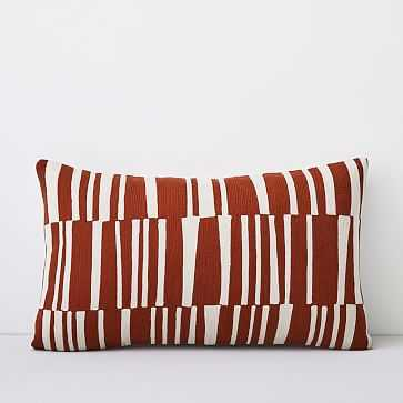 "Crewel Linear Pillow Cover, Copper, 12""x21"" - West Elm"