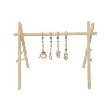 Natural Wood Baby Gym, Gray Toys - West Elm