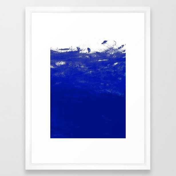 Water Waves Ocean Sea Bright Blue Modern Painting Minimal Monochromatic Urban Dorm College Art Framed Art Print by Charlottewinter - Vector White - MEDIUM (Gallery)-20x26 - Society6
