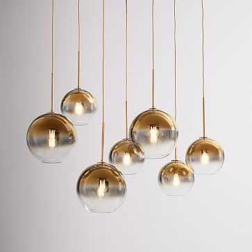 Sculptural 7-Light Chandelier, Globe Mixed Size, Gold Ombre, Brass, S/M - West Elm