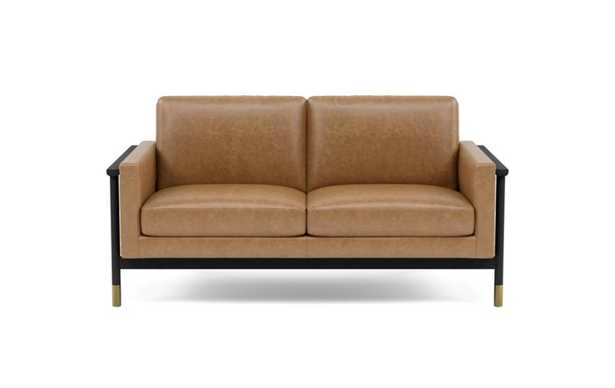 Jason Wu Leather Loveseats with Brown Palomino Leather and Matte Black with Brass Cap legs - Interior Define