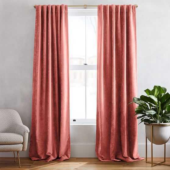 "Textured Upholstery Velvet Curtain, Set of 2, Pink Grapefruit, 48""x96"" - West Elm"