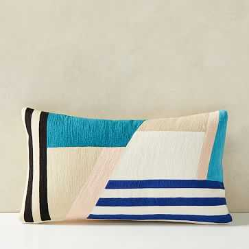 """Wallace Sewell Facet Crewel Pillow Cover, 12""""x21"""", Multi - West Elm"""