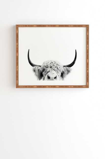 "Peeking Highland Cow by Sisi and Seb - Framed Wall Art Bamboo 30"" x 30"" - Wander Print Co."