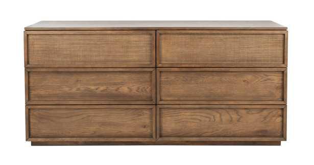 Zeus 6 Drawer Wood Dresser - Natural - Arlo Home - Arlo Home