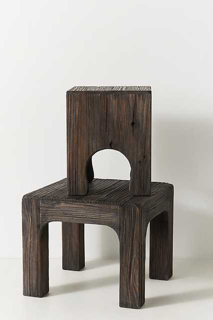 Kiefer Pine Wood Side Table By Anthropologie in Black Size M - Anthropologie