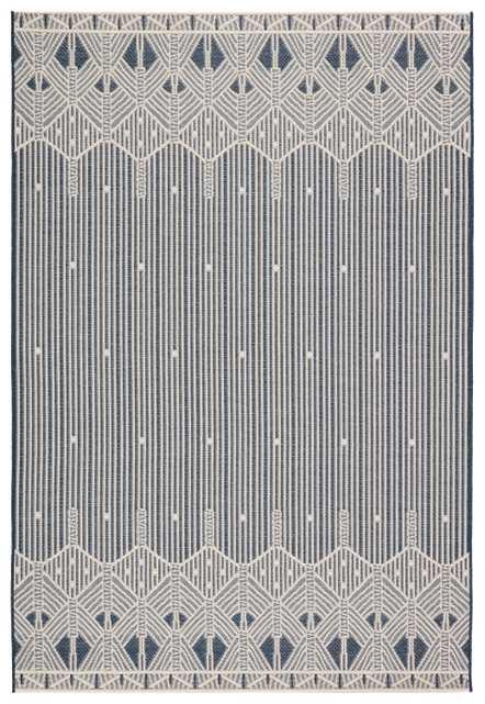 """Belvidere Indoor/ Outdoor Geometric Dark Blue/ Cream Area Rug (8'9""""X12'5"""") - Collective Weavers"""
